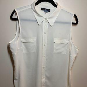 Sleeveless white blouse